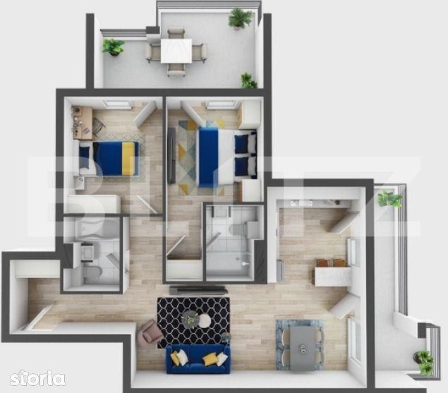 3 camere, 70 mp utili, 2 terase, preturi incepand de la 1330 euro