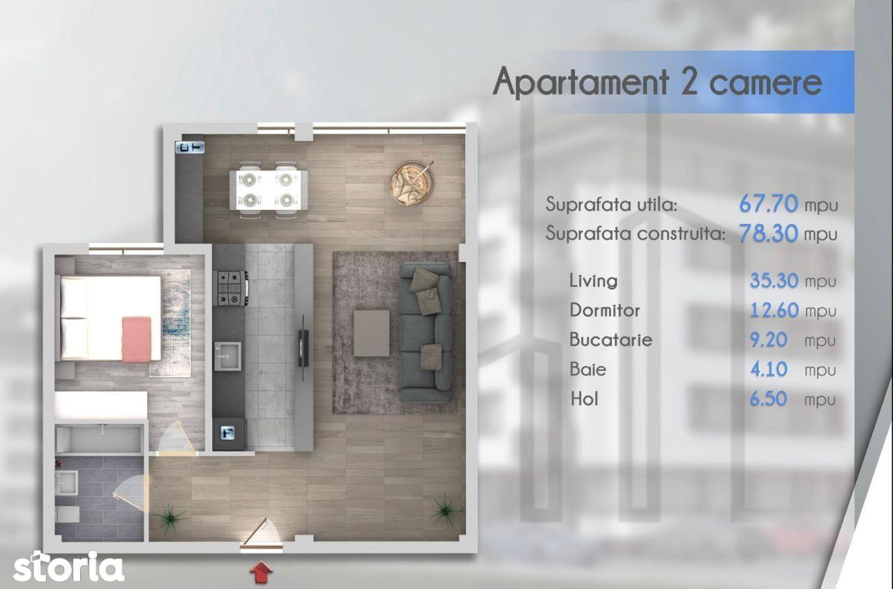 Apartament 2 camere 68 mp, str Soarelui, Chiajna-Militari