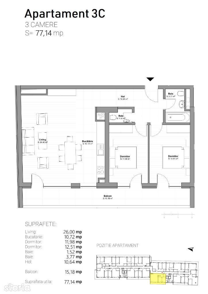 Apartament de 3 camere, tip 3C, ultra finisat, etaj 13, zona centrala