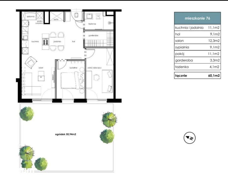 Bonarka - 3 pokoje+garderoba+ogródek 51m2. IVQ2021