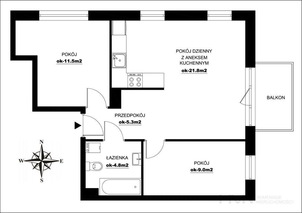 Rozkładowe, przestronne mieszkanie 3 pokojowe