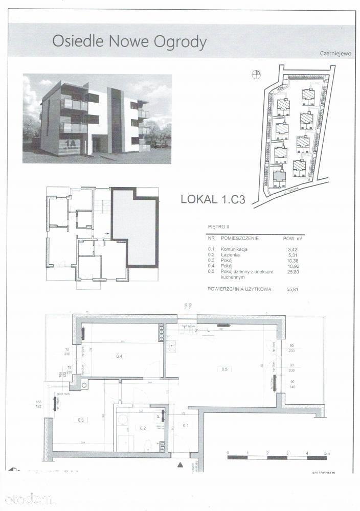 Mieszkanie, 55,81 m², Czerniejewo