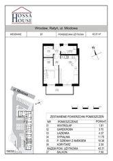 B1 - 2 pok. - 42 m2 + balkon 7,5 m , parter/2p.