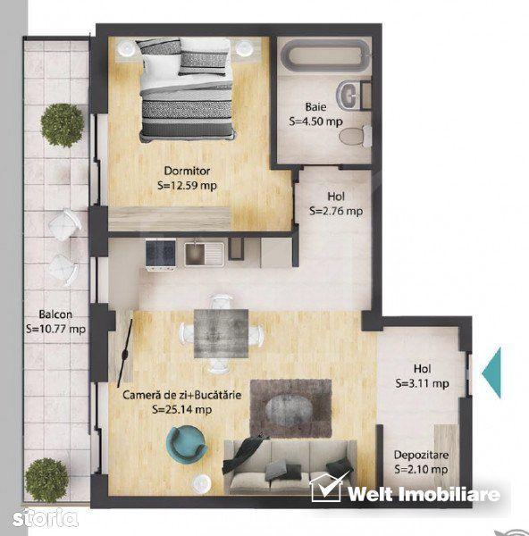 Apartament 2 camere, 50 mp, baie, balcon 11 mp, parcare subterana, Bac