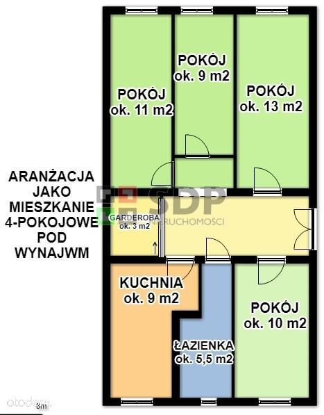 Plac Grunwaldzki. Odrestaurowana kamienica. 74 mkw
