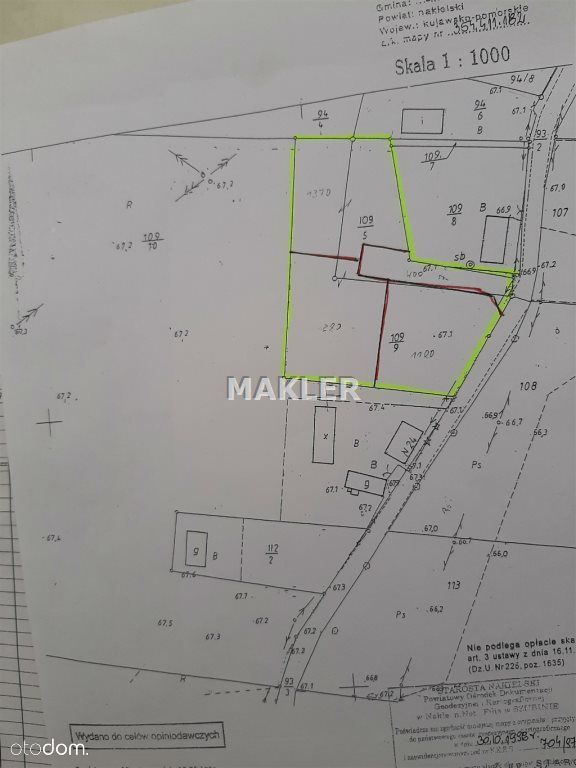 Działka, 1 238 m², Kornelin
