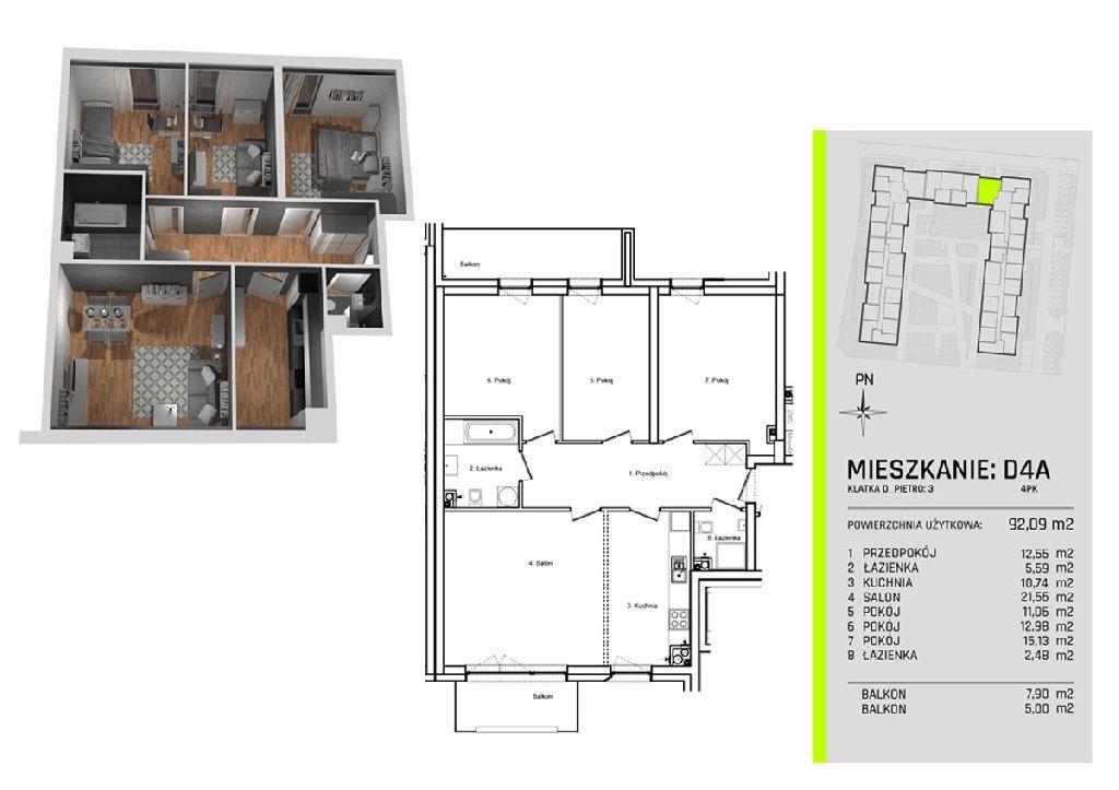 Cztery pokoje w nowym apartamentowcu na Złotno w o
