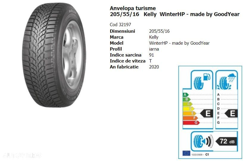 SET 2 ANVELOPE IARNA KELLY 205/55R16 WinterHP - made by GoodYear - 2