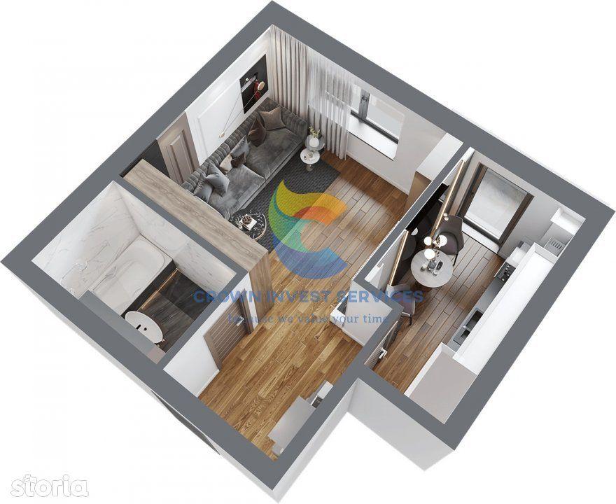 Apartament 1 camera, decomandat, Zona Frumoasa, Blv. Poitiers, etaj 1
