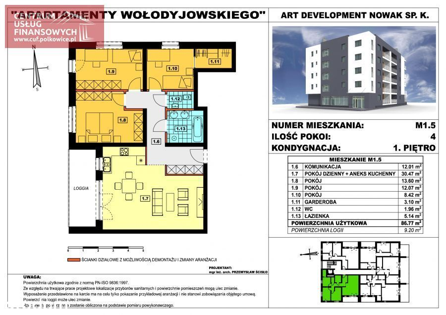 Nowe budownictwo 4 pok. 86,77 m2, Wołodyjowskieg