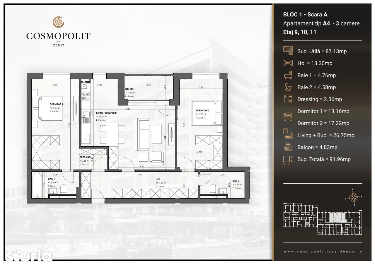 Apartament 3 camere Cosmopolit Zenit Bloc 1