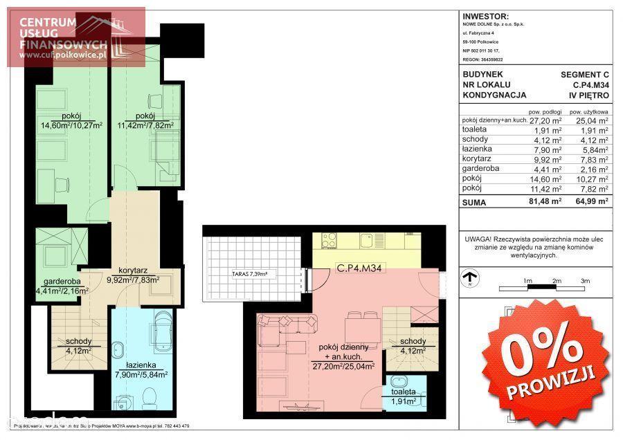 3 pok. 68,37 m2- dwupoziomowe, Nowe budownictwo,