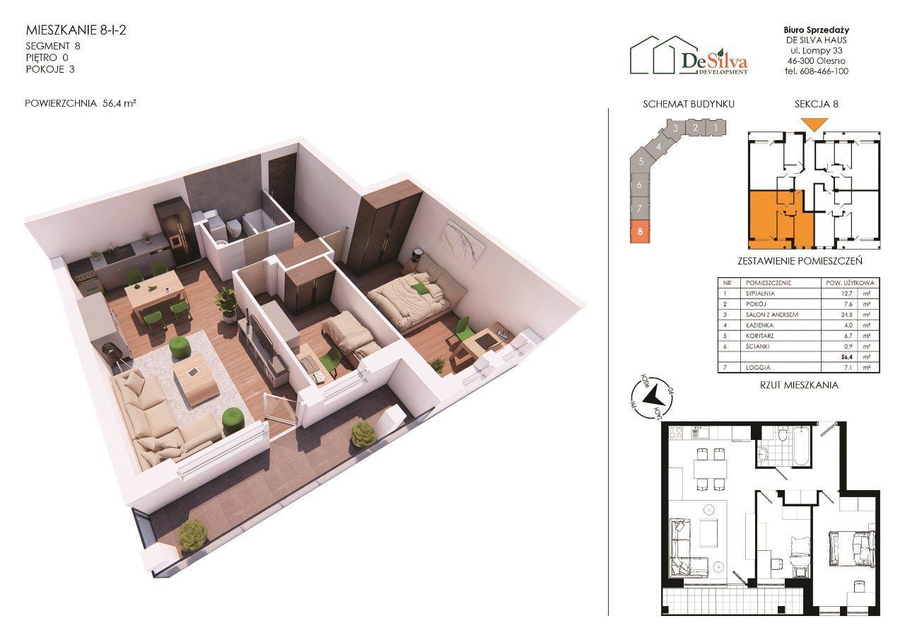 Mieszkanie 3pok. w nowym bloku garaż podziemny 812