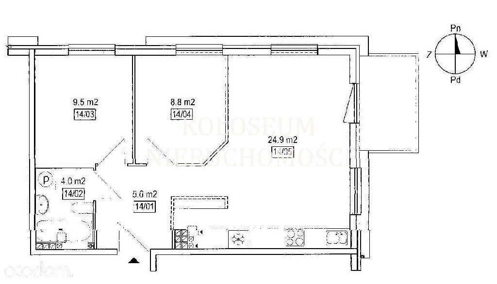 Mieszkanie, 53 m², Gdańsk