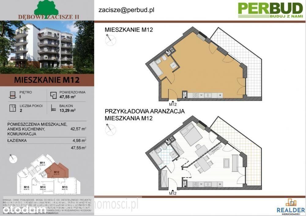 Mieszkanie, 47,55 m², Zielona Góra