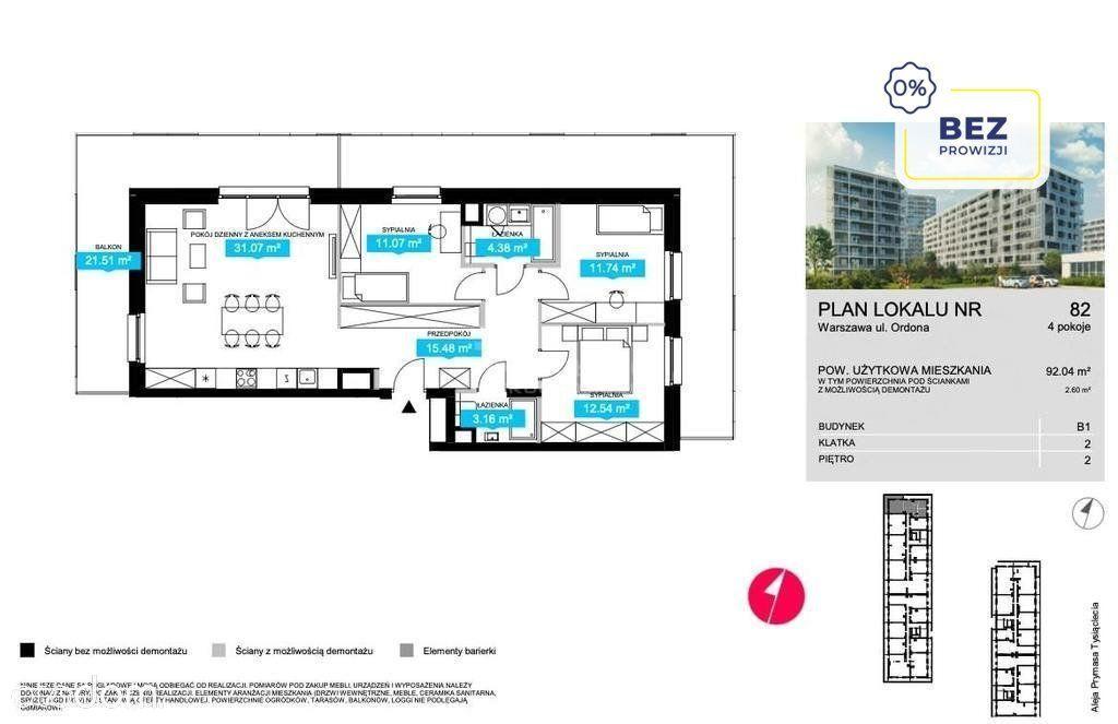 92m2 II piętro, 21m2 taras, narożne, II Qw 2022r.