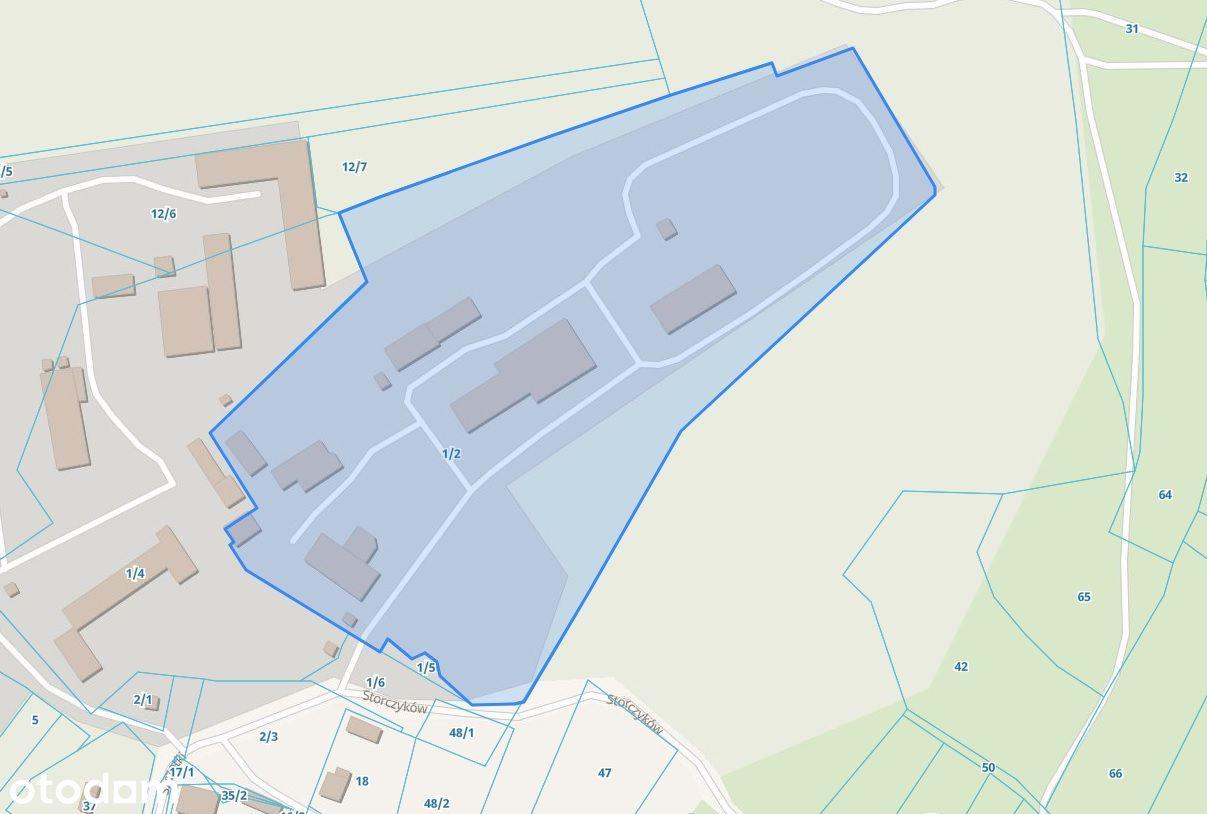 Duża działka produkcyjno-usługowa z halą IZERA 3km