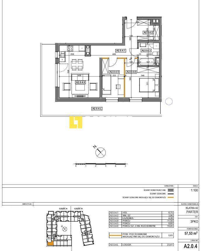 Drzetowo - mieszkanie 3 pok. + loggia 23,41m2