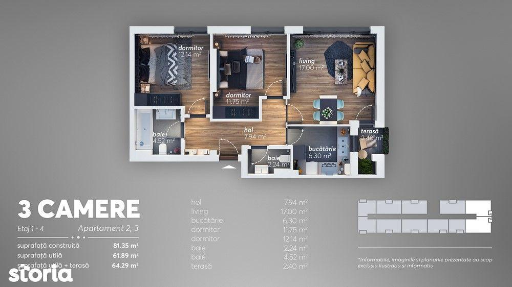 Apartament 3 camere-zona Brancoveanu/bloc nou /66.000 Eur