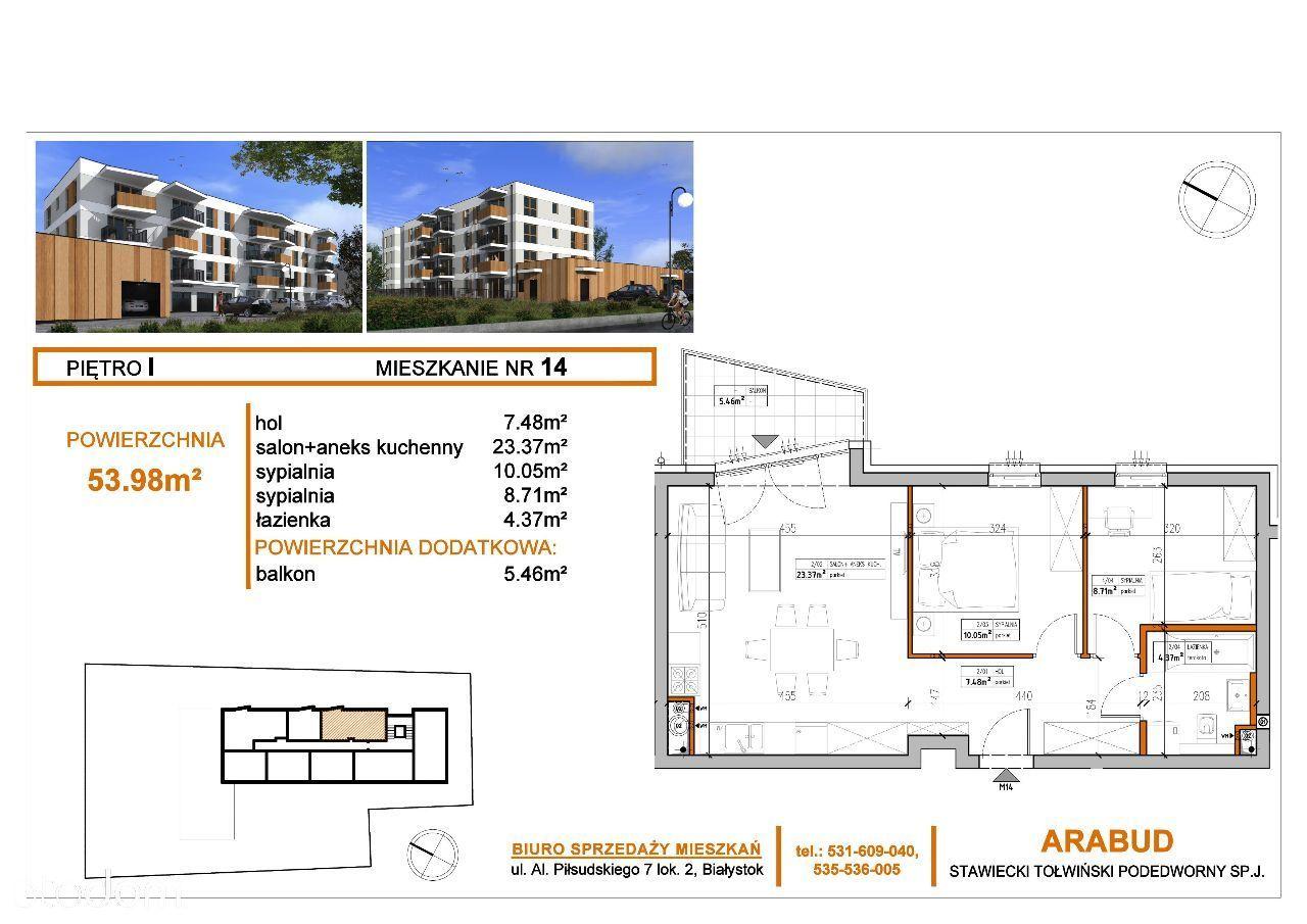 Słoneczne Tarasy - I piętro, 3 pokoje