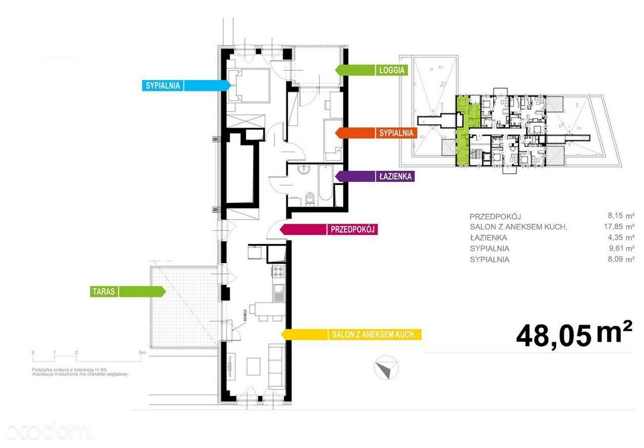 Apartament 48m2, 3 pokoje + TARAS + BALKON!