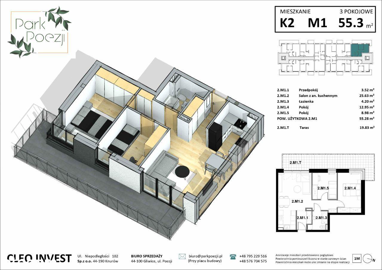 Nowe mieszkanie 54m2, 3 pokoje, duży balkon 19m2