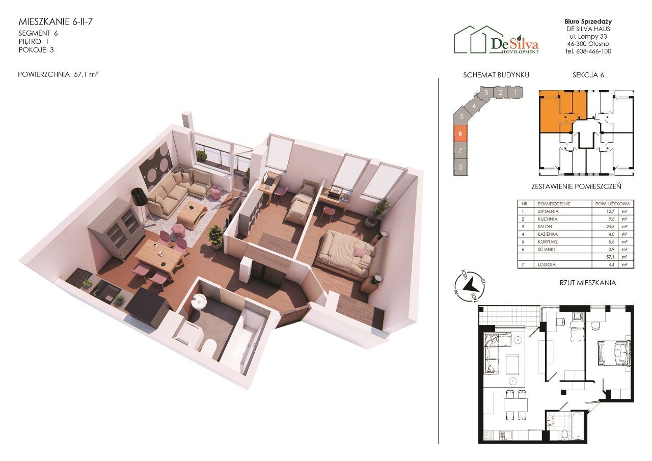 Mieszkanie 3pok nowy blok z garażem podziemnym 627