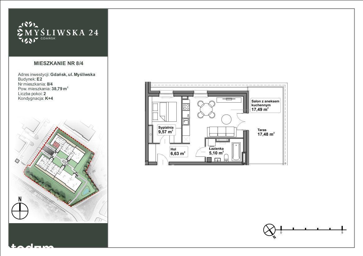 Dwupokojowe mieszkanie z dużym tarasem Gdańsk