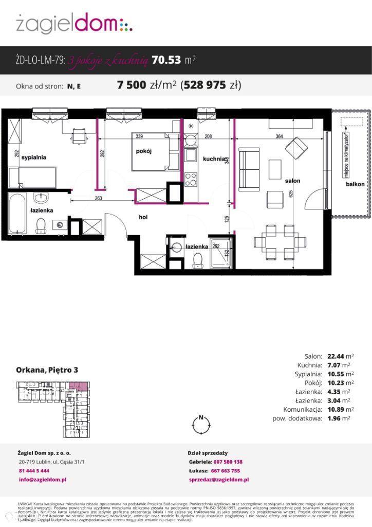 Trzypokojowe mieszkanie Orkana Residence M79