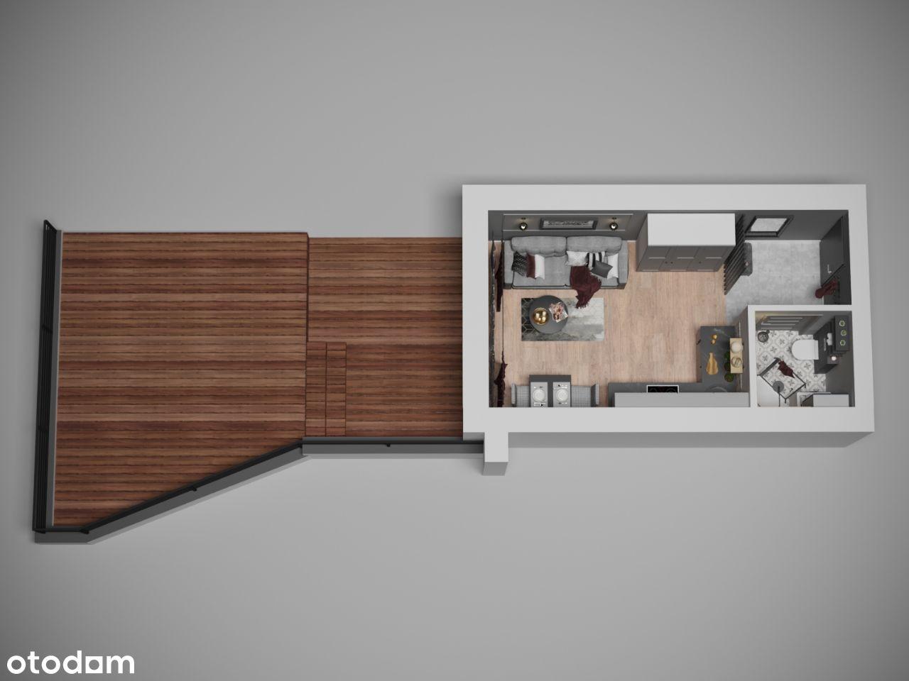 Mieszkanie 1-pok z 40 metrowym TARASEM Wzgórza M7