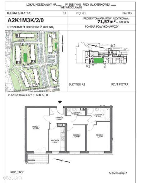 3-pokoje z kuchnią,parking gratis,Kaparowa