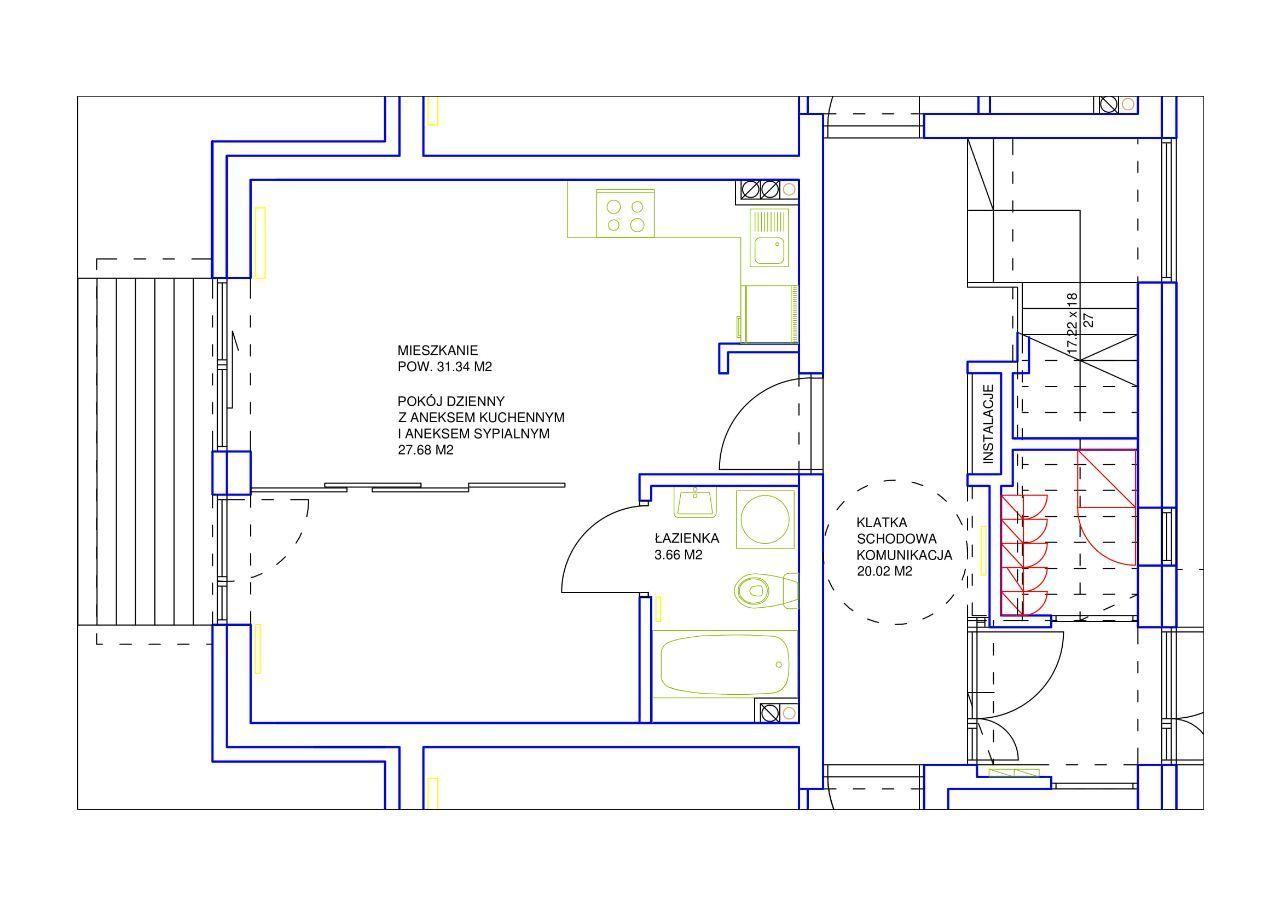 Nowe mieszkanie kawalerka 31,34 m kw Poddębice