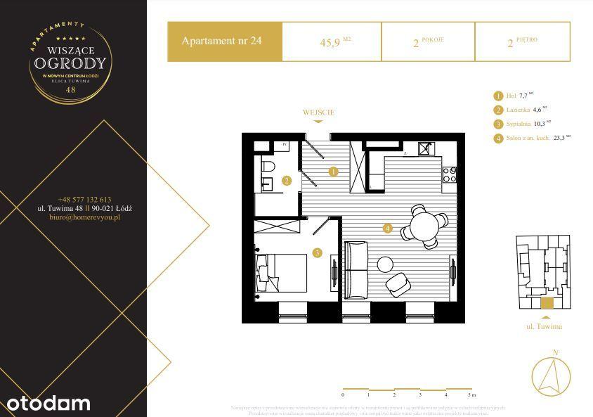 2 pokojowe mieszkanie przy EC1, Centrum, Tuwima 48
