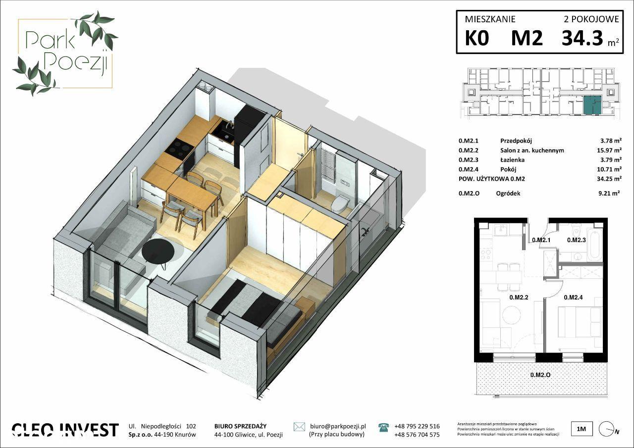 Nowe mieszkanie 33m2, 2 pokoje, ogródek