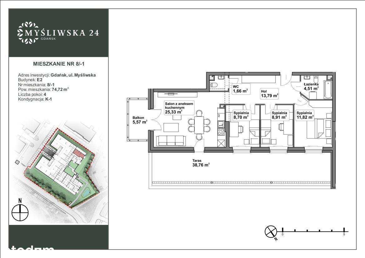 Czteropokojowe mieszkanie z dużym tarasem +balkon