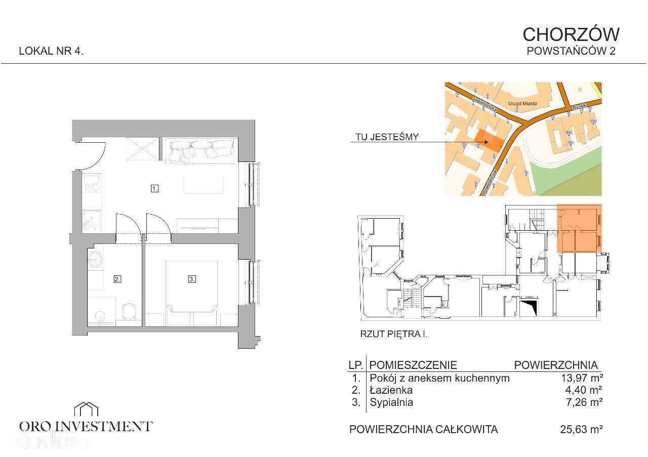 Mieszkanie w centrum Chorzowa, 2 pokoje