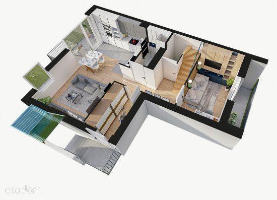 Dwupoziomowe mieszkanie z ogrodem