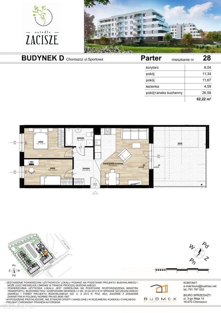 Osiedle Zacisze mieszkanie 3 pokoje DUŻY TARAS