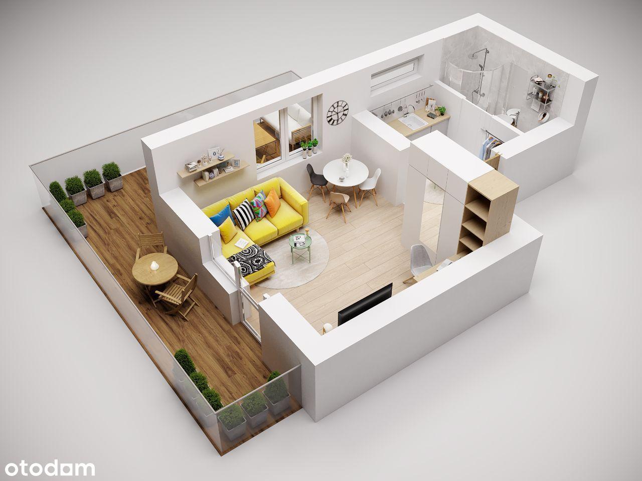 Mieszkanie24m2|Podgórze|Balkon+taras|Parking| Bez