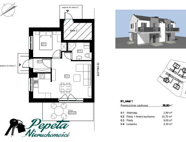 2 POKOJOWE mieszkanie z ogrodem- 307 m