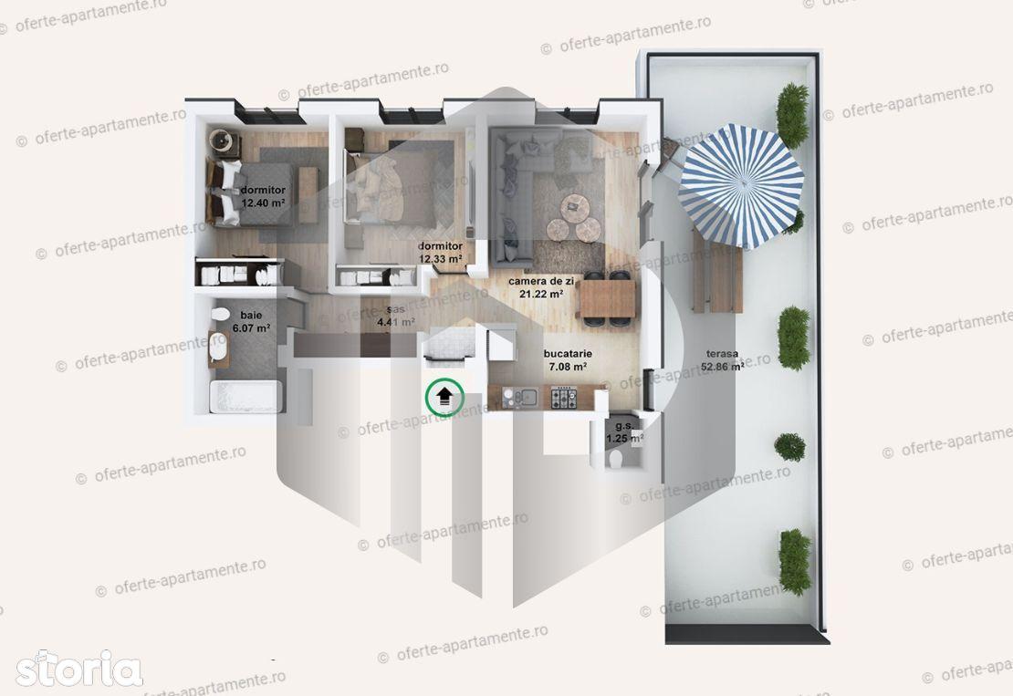 Apartament 3 camere | Etaj Retras | 65 mpu | Zona de Vest