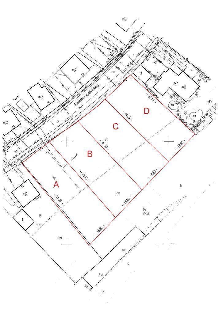 Działki 783-909 m2, ul. Wyspiańskiego(ul.Szczotki)