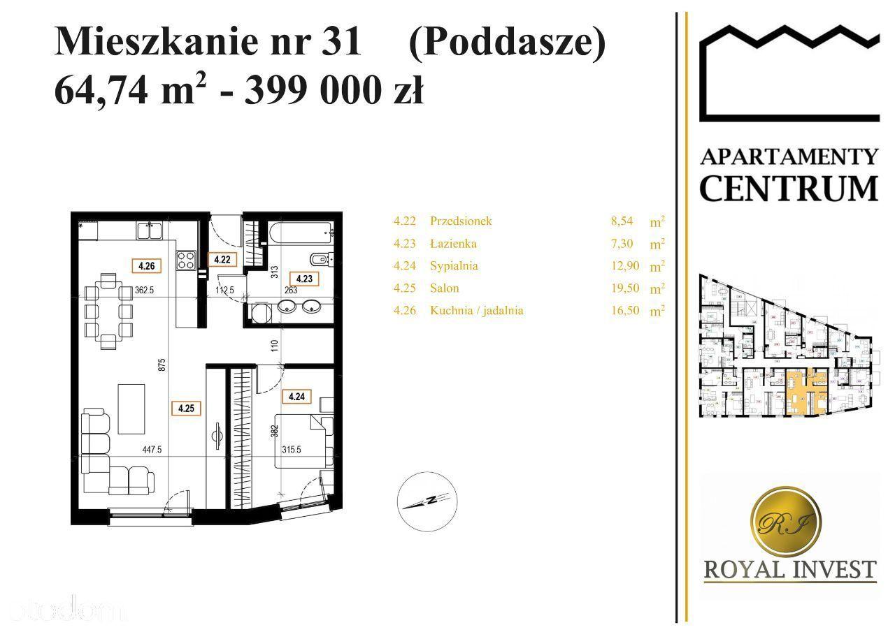M31 - Apartamenty Centrum, Mszana Dolna, 64,74 m2