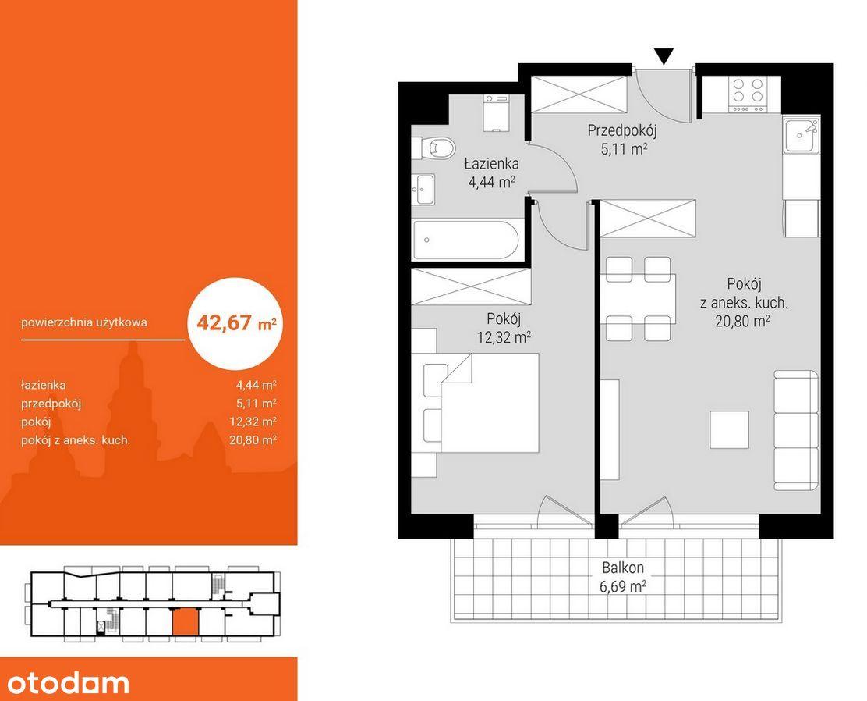 Apartament 43m2, 2 pokoje, Blisko Parku Śląskiego!