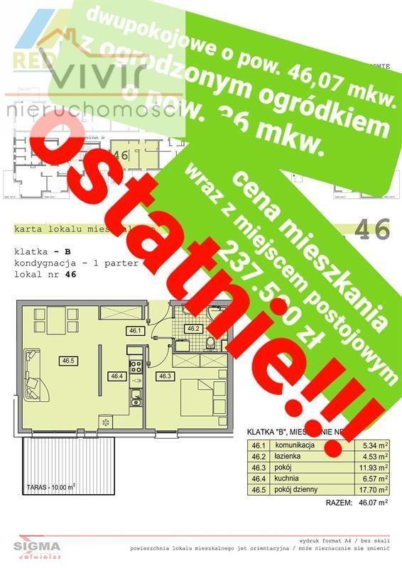 Ostatnie Mieszkanie! 46mkw Z Ogrodzonym Ogródkiem!