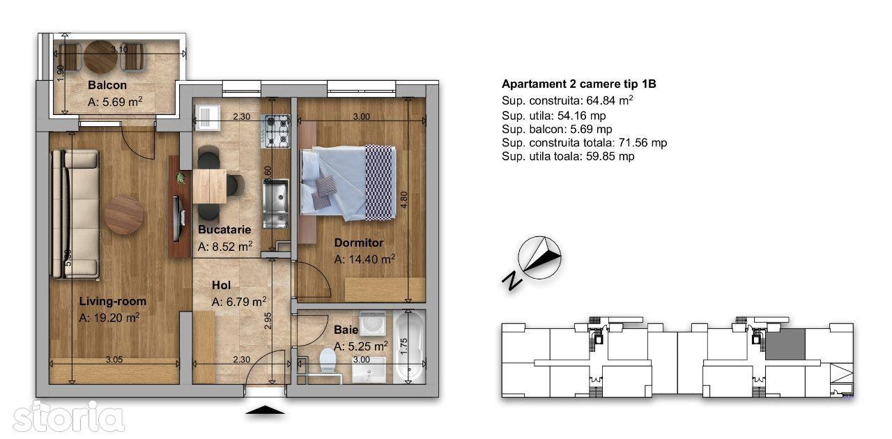 Apartament 2 camere tip 1B Regnum Residence RATE DEZVOLTATOR