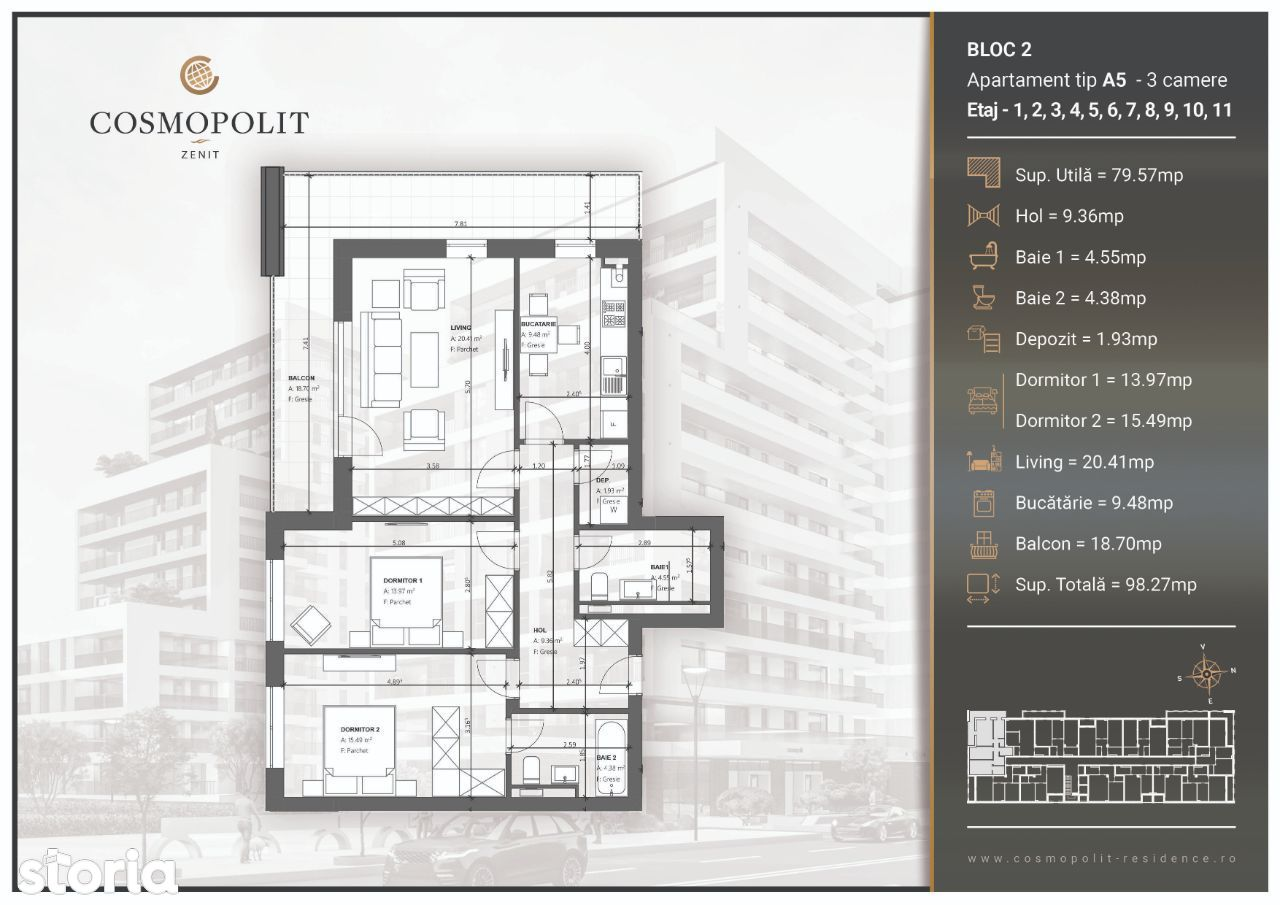 Apartament 3 camere Cosmopolit Zenit Bloc 2