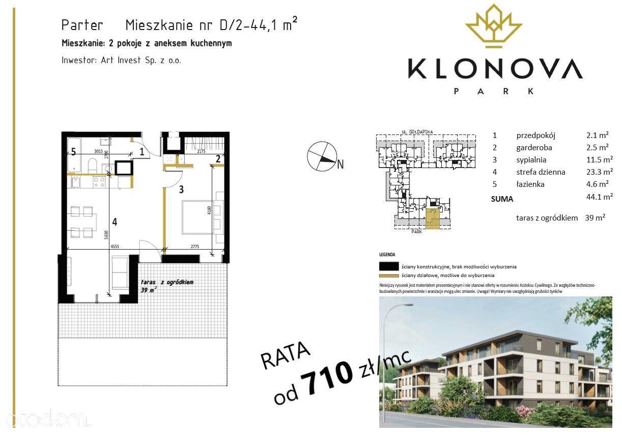Klonov Park, mieszkanie 46,6 m2, 2 pokoje, D1