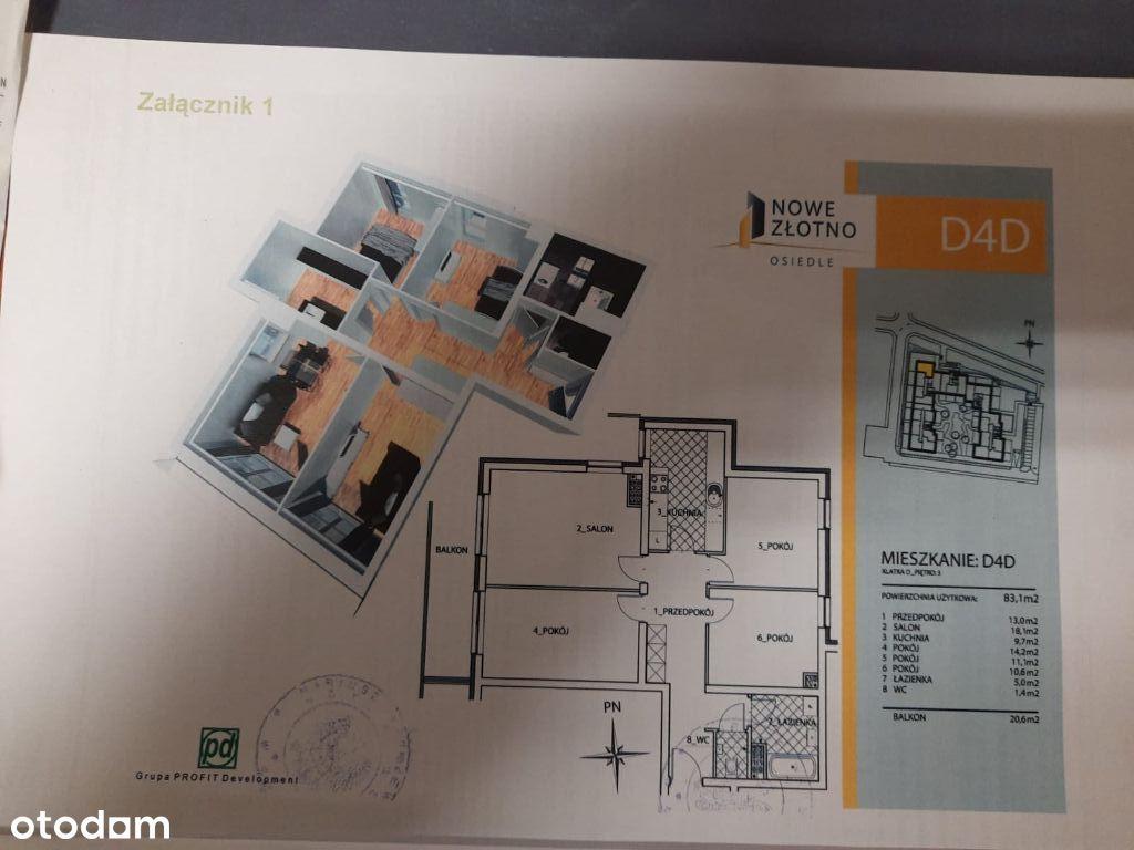 Nowe Złotno ,2 miejsca parkingowe ,Balkon 20,6 m