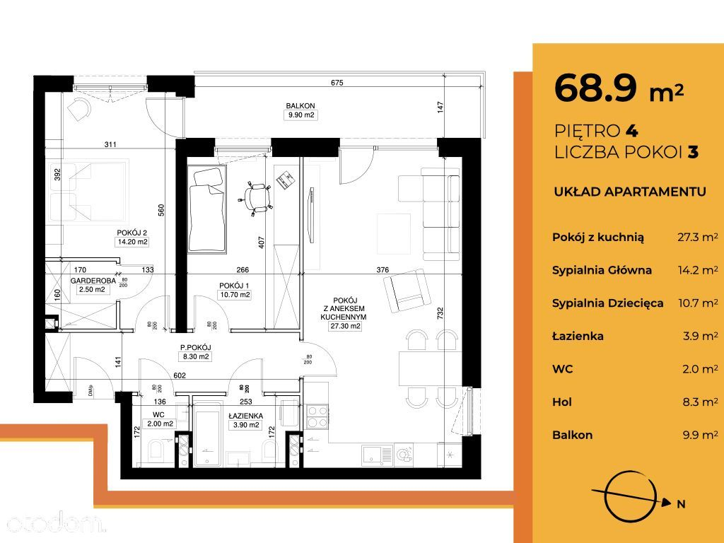 Mieszkanie 69 m2 z parkingiem i komórką
